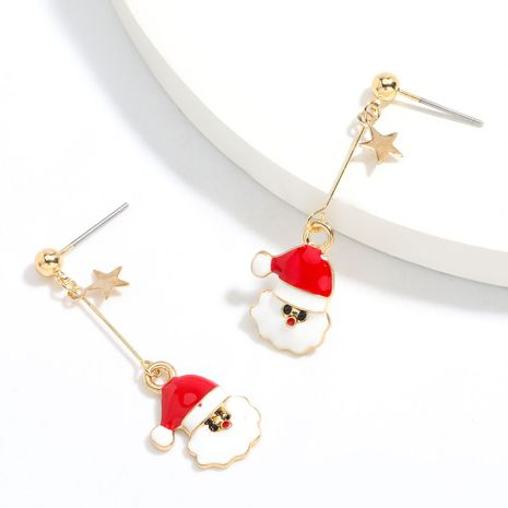 Hot selling fashion dripping oil Santa Claus earrings wholesale NHJE260566's discount tags