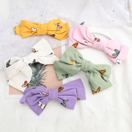 Hot selling butterfly print fabric big bow hairpin accessories NHJE260574's discount tags