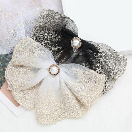 Vente chaude mode imitation perle dentelle fil de coton tissé floral grand arc épingle à cheveux en gros NHJE260576's discount tags