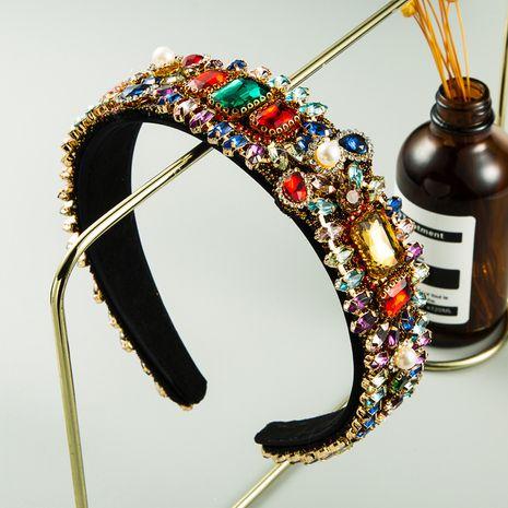 Hot selling fashion fabric retro baroque color rhinestone drop-shaped full diamond headband NHLN260596's discount tags