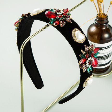 Creative black velvet fabric colored diamonds flowers heart-shaped pearl headband  NHLN260597's discount tags