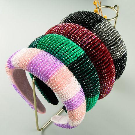 new luxury handmade beaded two-color crystal  gold velvet cloth wide edge fashion sponge headband NHLN260603's discount tags