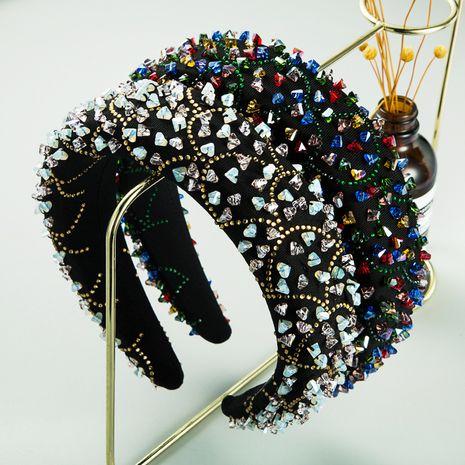 new luxury handmade stitching crystal diamond broad-side sponge headband  NHLN260606's discount tags