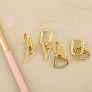 fashion hiphop style exaggerated heartshaped peach heart pendant copper earrings  NHAS260608