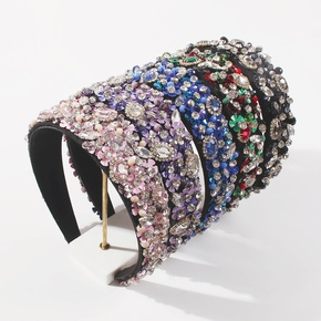 Baroque fashion headband women's broad-edged diamond sequins popular headband  NHMD260611