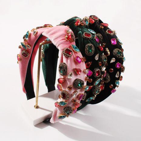 hot sale gold velvet headband sweet  diamond-studded knotted headband NHMD260614's discount tags