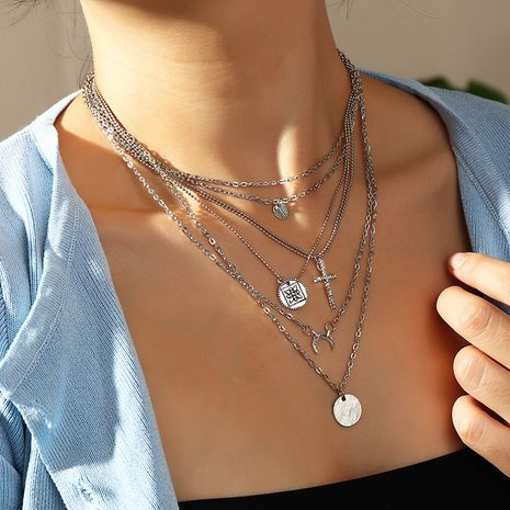 hip-hop style long multi-layered cross disc moon alloy necklace NHNZ260631's discount tags