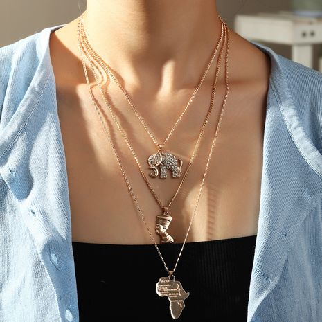 new fashion multi-layer simple alloy elephant map portrait necklace NHNZ260632's discount tags