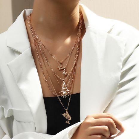 wholesale wild letter retro sun portrait alloy pendant necklace NHNZ260633's discount tags