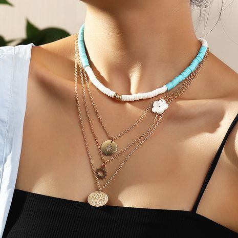 Fashion soft ceramic new alloy star multi-layer necklace for women wholesale NHNZ260636's discount tags