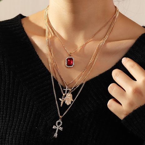 Wholesale Geometric Multilayer Full of Diamond Palm Cross alloy Necklace NHNZ260637's discount tags