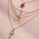 Wholesale Geometric Multilayer Full of Diamond Palm Cross alloy Necklace NHNZ260637