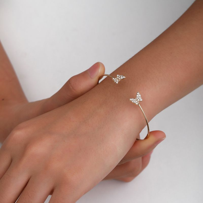 fashion new exaggerated alloy retro simple butterfly micro diamond alloy bracelet NHXR260644