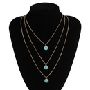 fashion retro simple multilayer turquoise clavicle new turquoise alloy necklace NHXR260653