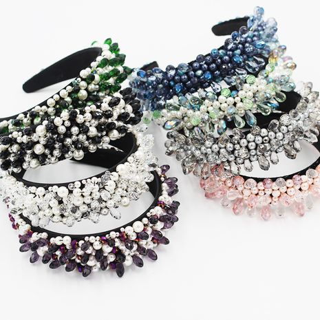 Bandeau baroque de luxe en perles de cristal NHWJ260665's discount tags