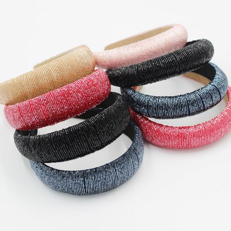 fashion high-end sponge  simple broad-sided fashion handmade beaded headband  NHWJ260666's discount tags