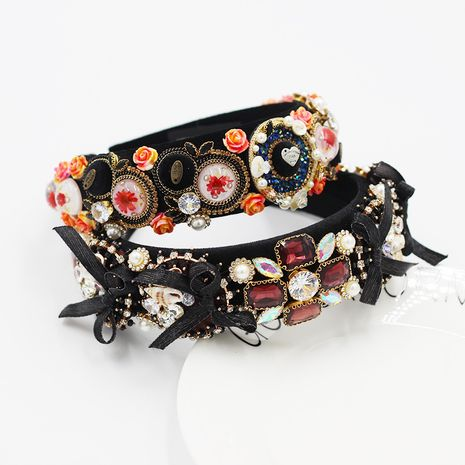 Baroque diamond pearl sponge exaggerated bow tie  headband  NHWJ260672's discount tags