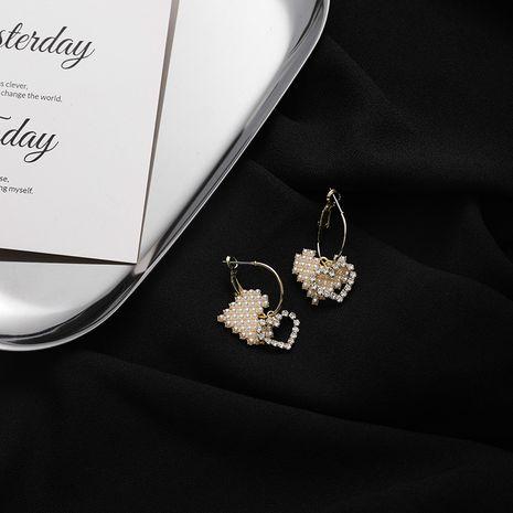 Korean  diamonds double love peach heart wild pearl rhinestone alloy earrings for women NHMS260673's discount tags
