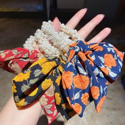 Hot selling fashion elastic good rubber band floral bow knot pearl flower Hair Scrunchies NHMS260678