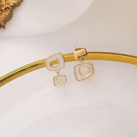 Korean 925 Silver Needle Irregular Geometric Square New Trendy Asymmetric copper Earrings NHMS260679's discount tags