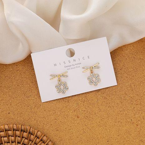 plum flower simple and compact Korean flower diamond alloy earrings NHMS260704's discount tags
