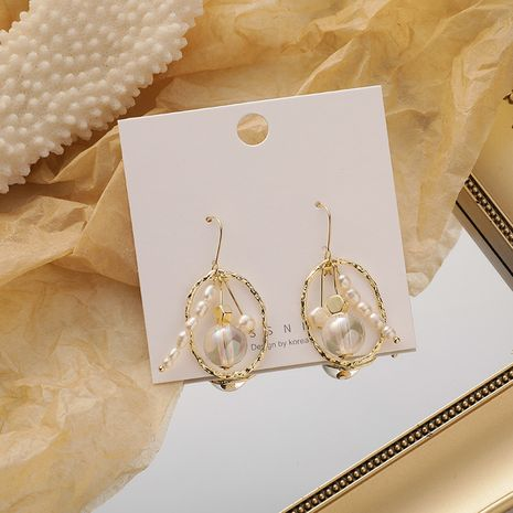Korean fashion oval crystal pear flower crystal beads hollow pearl  earrings NHMS260705's discount tags