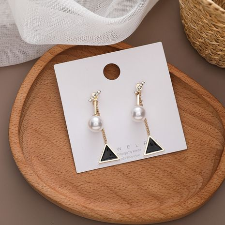 Korean long triangle pearl new trendy silver needle earrings for women NHMS260707's discount tags
