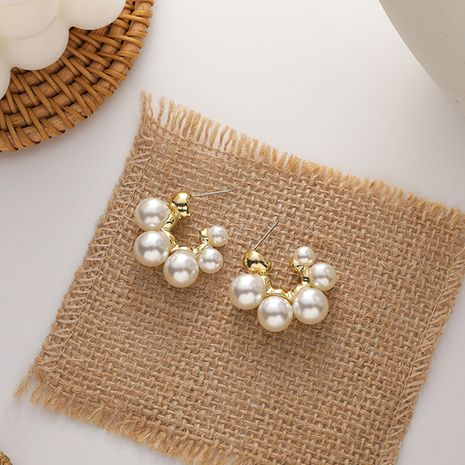 Korean simple all-match small pearl circle alloy earrings for women NHMS260718's discount tags