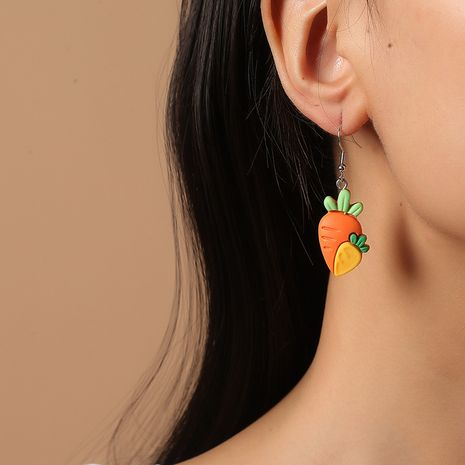 Cute cartoon Korean  fashion simple funny children's vegetables  fruit earrings NHKQ260720's discount tags
