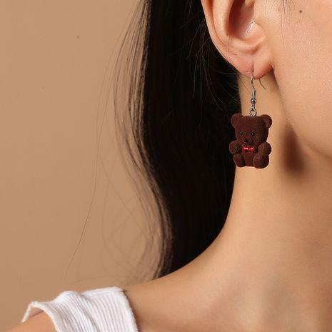 Korean girls cute cartoon doll bear fashion retro simulation animal earrings NHKQ260722's discount tags