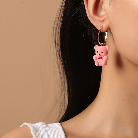 Fashion cute sweet girls three-dimensional bear Korea new trend animal earrings NHKQ260723's discount tags