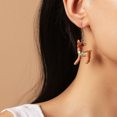 Simple stylish cute cartoon sika deer Korean all-match paint animal earrings NHKQ260730's discount tags