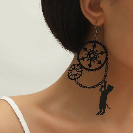 Fashion new dark black industrial gear cat exaggerated resin earrings NHKQ260735's discount tags