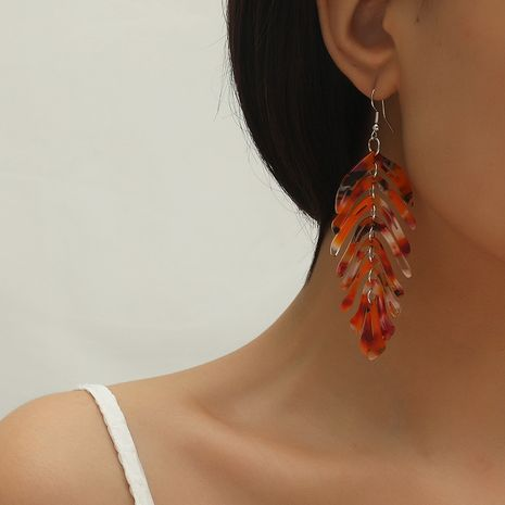 Fashion new resin leaf simple retro trend exaggerated wild earrings NHKQ260742's discount tags