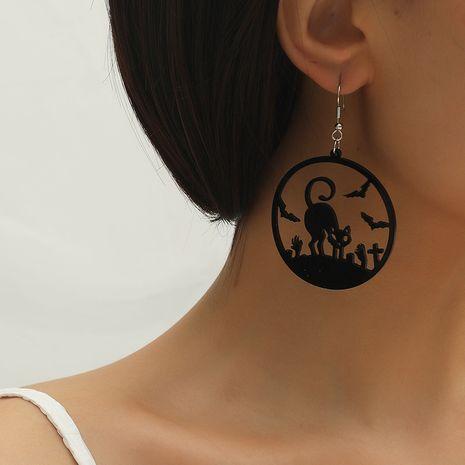 Moda simple de Halloween nuevos pendientes de gato hueco de acrílico creativo oscuro NHKQ260752's discount tags