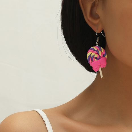 Korean fashion bow soft pottery lollipop simulation food funny resin earrings NHKQ260756's discount tags