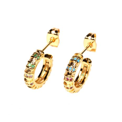 Popular copper plated 18K micro-inlaid color zircon C-shaped earrings   NHPY260797's discount tags