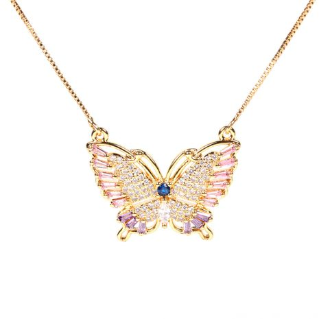 Hot-selling copper inlaid zircon color butterfly pendant necklace  NHPY260800's discount tags