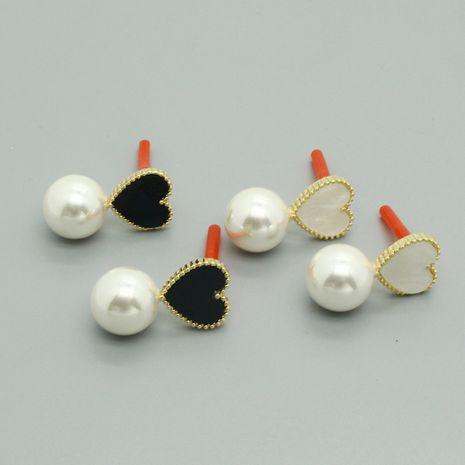 Vente chaude mode aiguille en argent 925 nouvelles boucles d'oreilles en perles noires et blanches en gros NHGO260811's discount tags