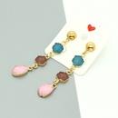Korean natural stone long water drop resin earrings for women NHGO260812