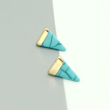 Fashion new simple turquoise triangle resin earrings for women wholesale NHGO260813's discount tags