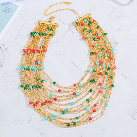 Hot selling fashion Multi-layer color necklaces gold color necklace NHGO260820's discount tags