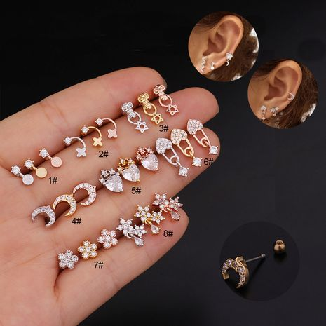 Korean fashion flower zircon ear bone nails stainless steel screw earrings NHEN260918's discount tags