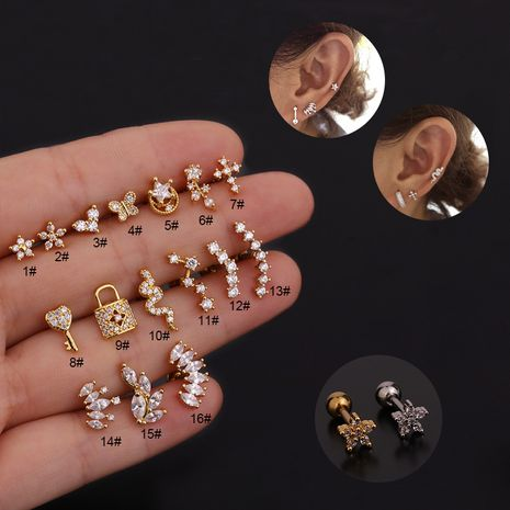 new zircon ear bone nails stainless steel threaded key earrings  NHEN260926's discount tags