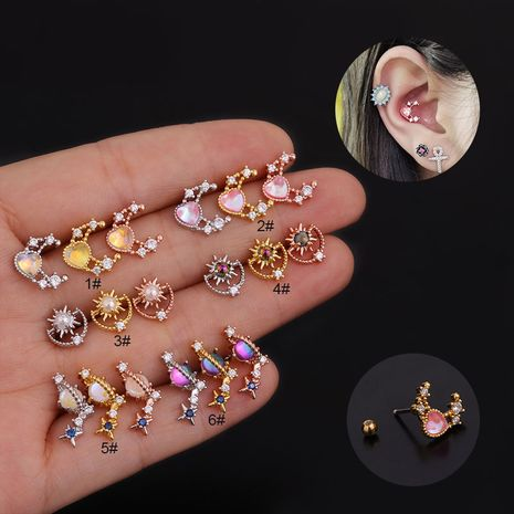 Korean color zircon  fashion all-match stainless steel earrings  NHEN260928's discount tags