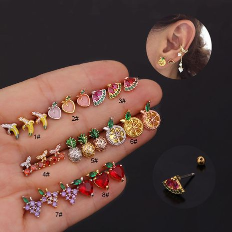 creative fruit   cute inlaid zircon stainless steel threaded earrings  NHEN260929's discount tags