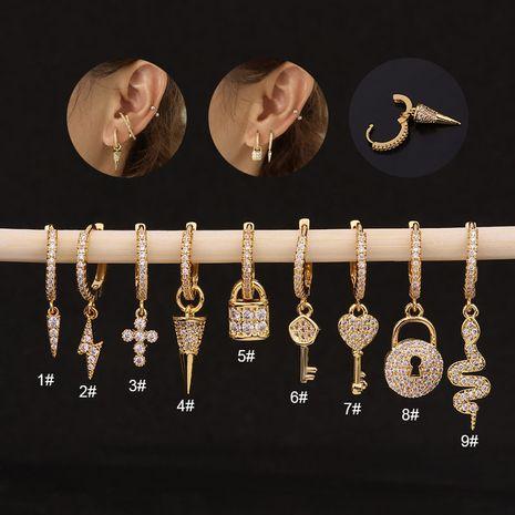 new fashion key  serpentine zircon earrings  NHEN260931's discount tags