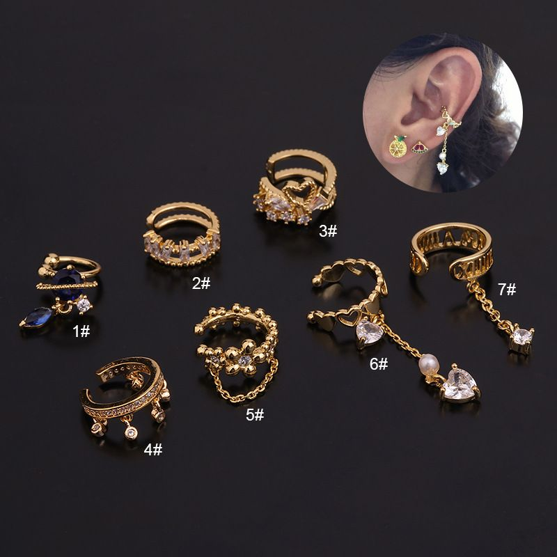 Korean creative Ushaped cartilage ear clip inlaid zircon nonpierced earrings  NHEN260932