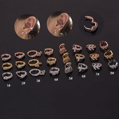 new  creative snake-shaped round ear bone buckle micro-inlaid zircon earrings NHEN260934's discount tags