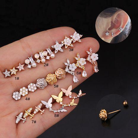 creative flower double head screw earrings  NHEN260935's discount tags